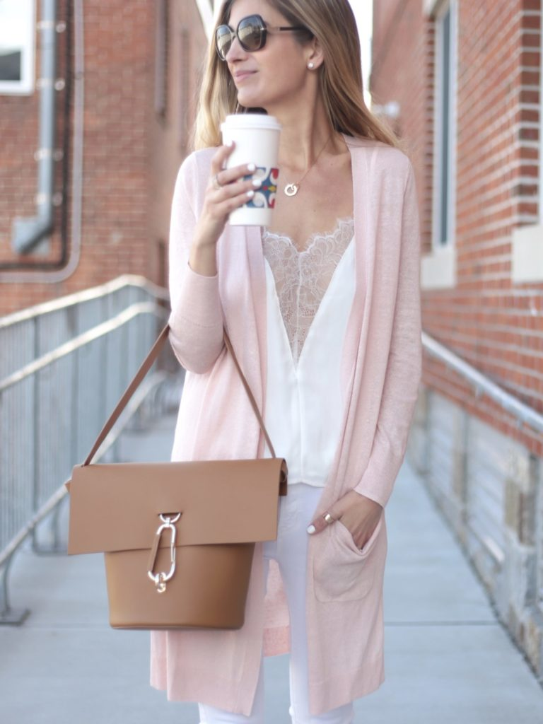 spring outfit: Zac Zac posen belay bag with long pink cardigan and white lace cut out cami