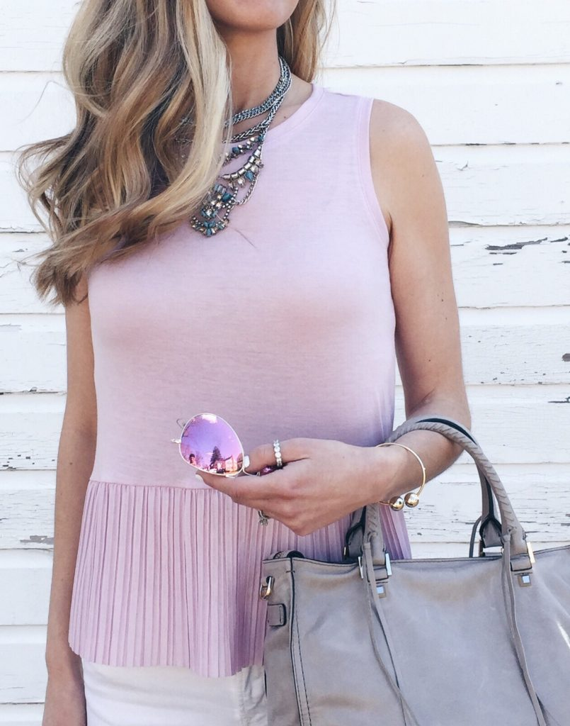 spring outfit ideas: pink pleated peplum tank
