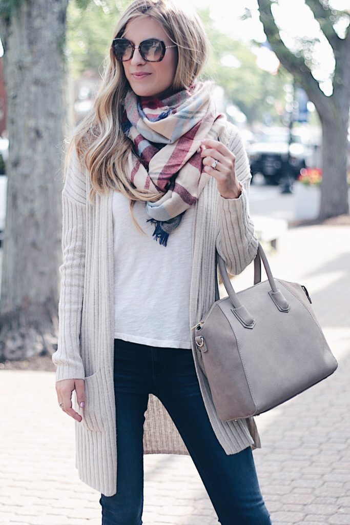nordstrom anniversary sale cardigan outfit - ribbed long cardigan and skinny jeans on pinterestingplans