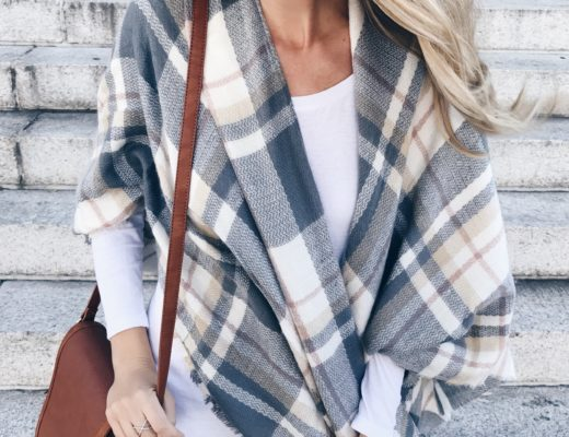 affordable Fall poncho 2017 - plaid wrap poncho and floppy hat on pinterestingplans