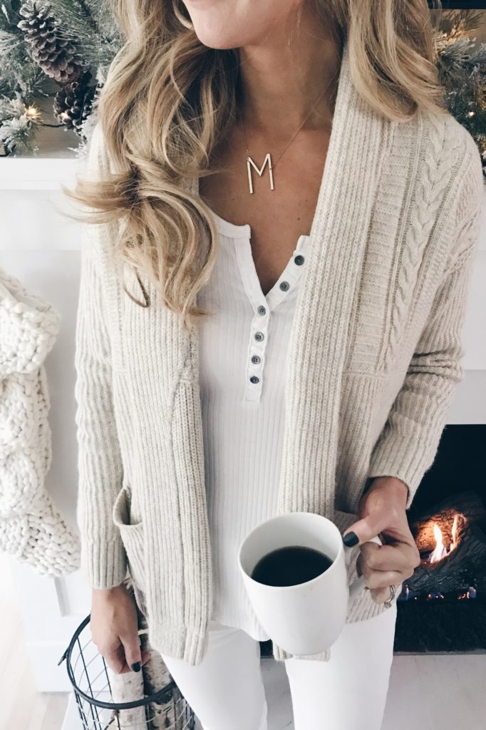 PIN THIS!!! casual holiday outfit ideas for the whole family - chic neutral cardigan and ribbed henley for mom