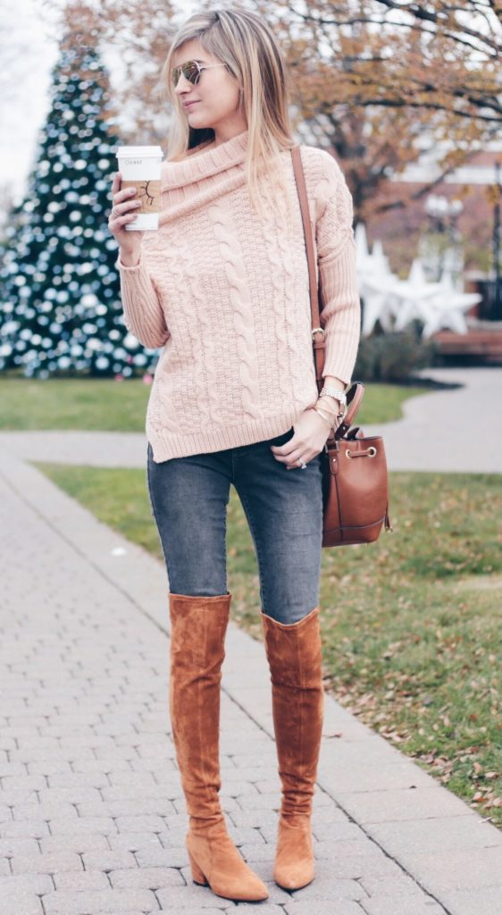 a9b50f050c72 fall outfit: pink cable knit off the shoulder sweater with skinny jeans and  over the