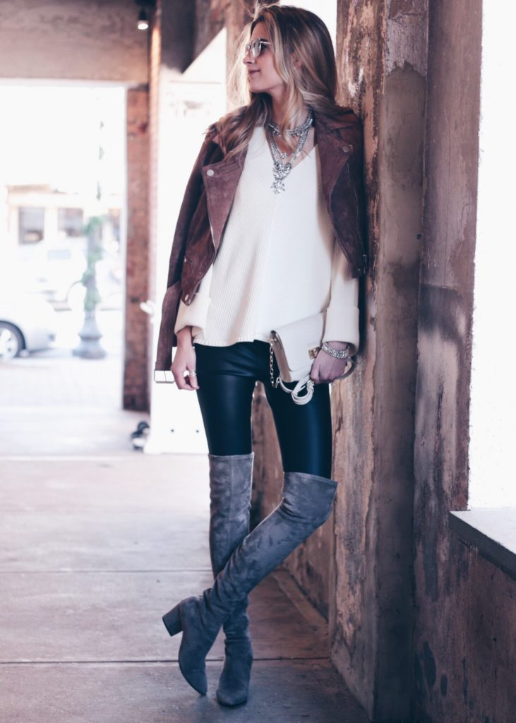 Winter Leggings Outfit Leather Leggings with Suede Moto Jacket and Over the Knee Boots ...