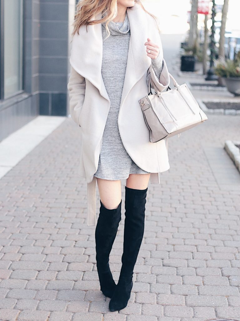 Connecticut life and style blogger Pinteresting Plans shares tips to help fashion bloggers fit in pictures, editing, & blog posts while working or parenting.  winter outfit: neutral wool wrap coat over turtleneck dress with black suede over the knee boots