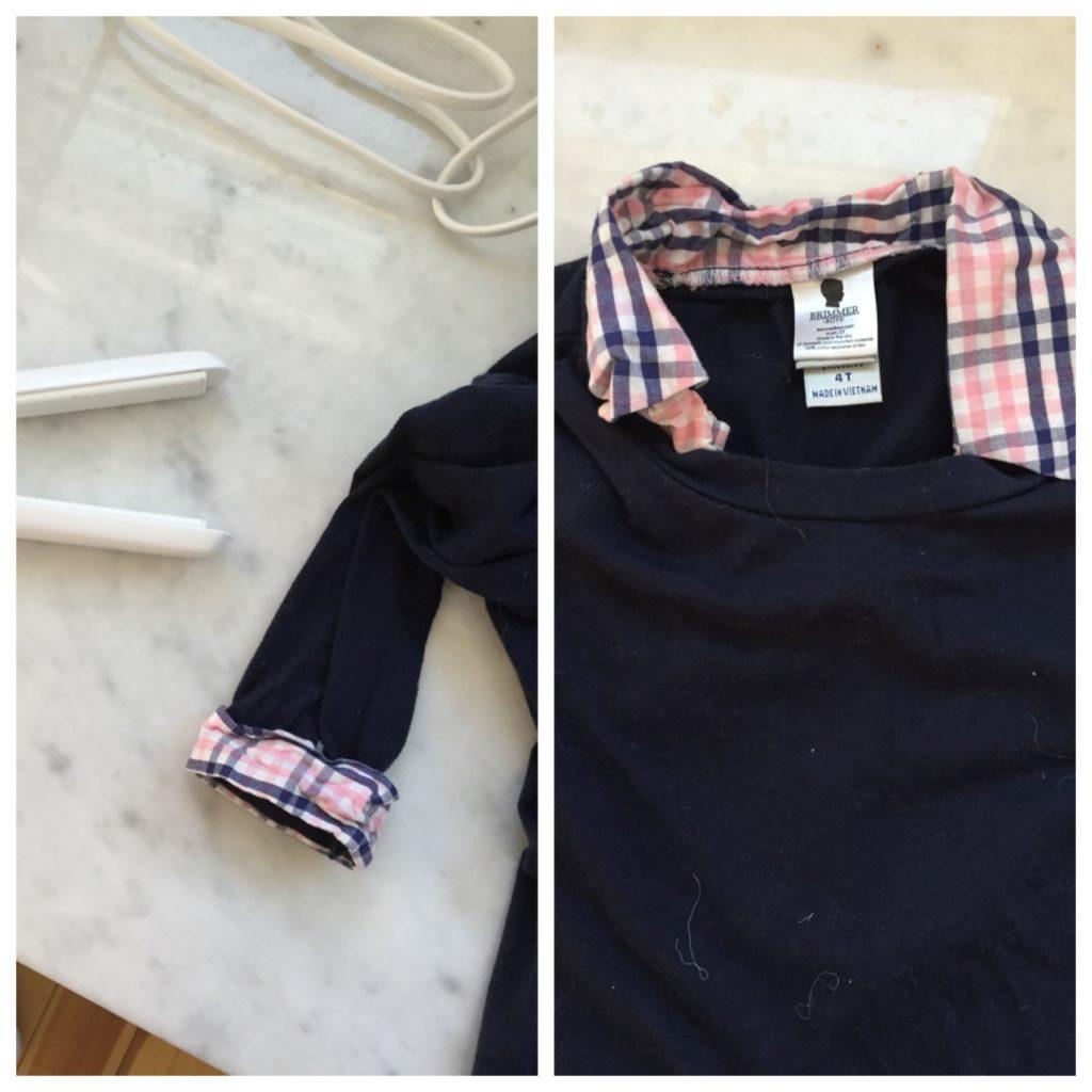hair hacks: iron a shirt collar with a hair straightener