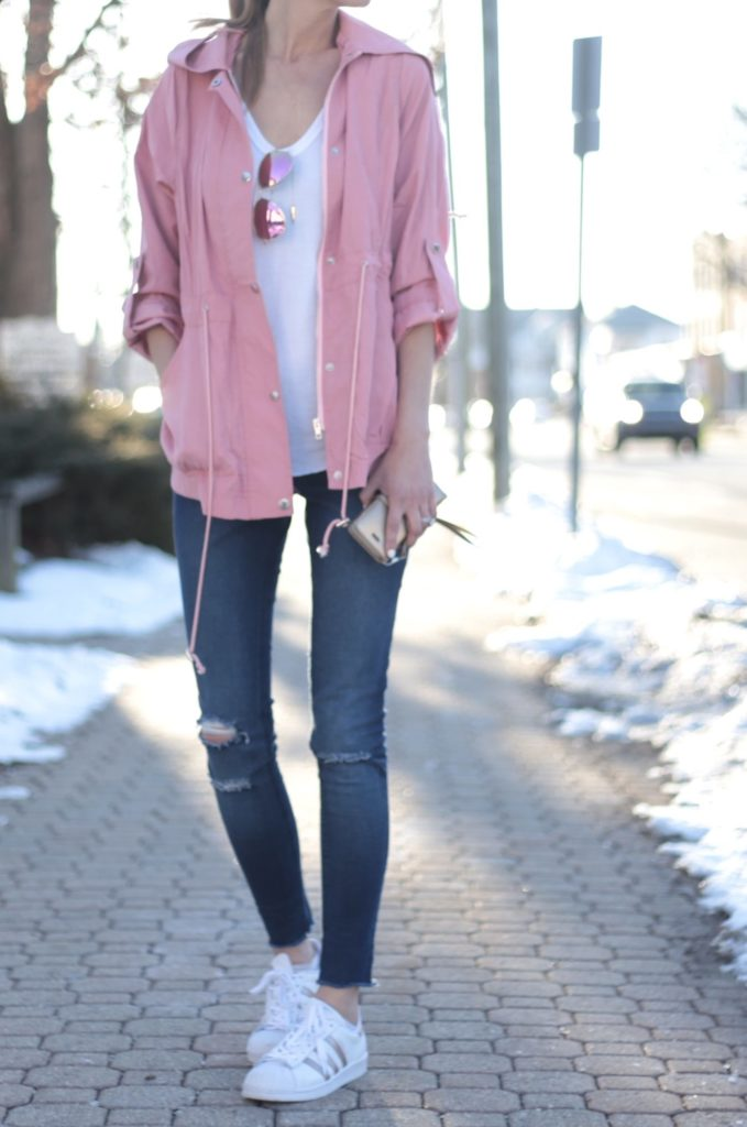 Connecticut life and style blogger, Pinteresting Plans shares 9 pink spring outfits and how to style them. You can check out those and more! spring outfit: pink utility jacket