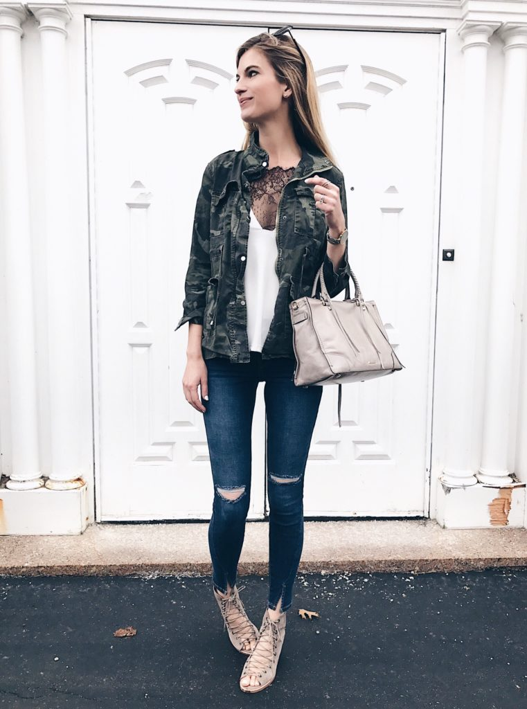 Connecticut life and style blogger, Pinteresting Plans shares a Shein Review and her experience with ordering clothes from Shein. spring outfit ideas: camo jacket with lace insert camisole