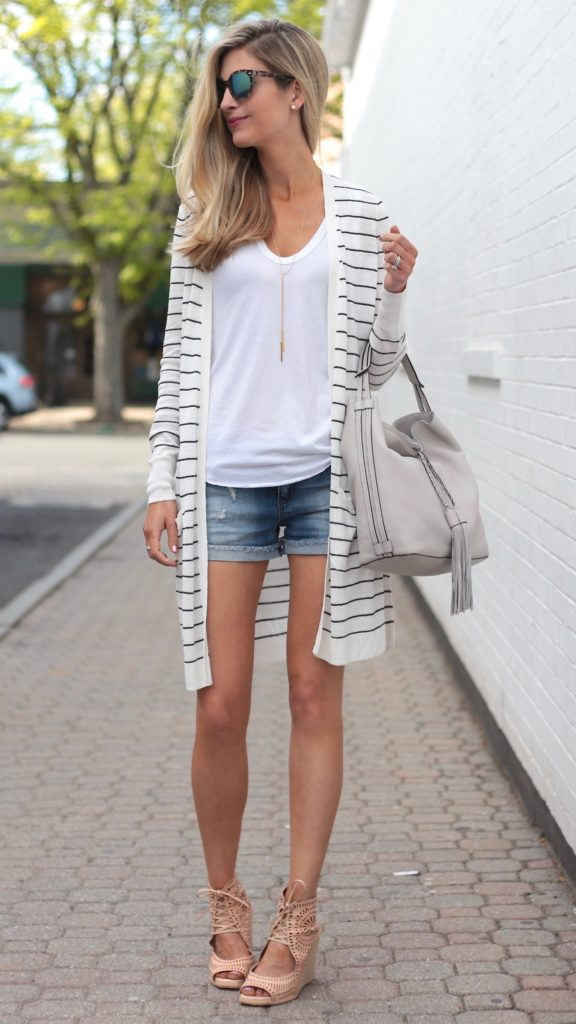 Long Striped Cardigan Outfits for Summer   Connecticut life and style blogger, Pinteresting Plans shares 3 Summer outfit ideas. The key piece is a striped long cardigan styled three ways.
