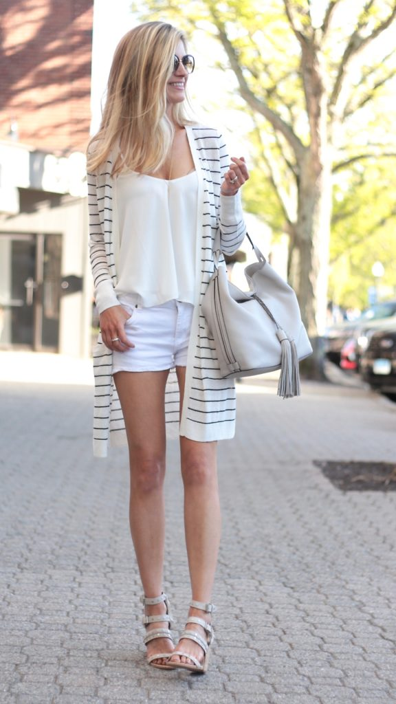 Connecticut life and style blogger, Pinteresting Plans shares 3 Summer Outfit Ideas with a Long Striped Cardigan. The key piece is a striped long cardigan styled three ways.