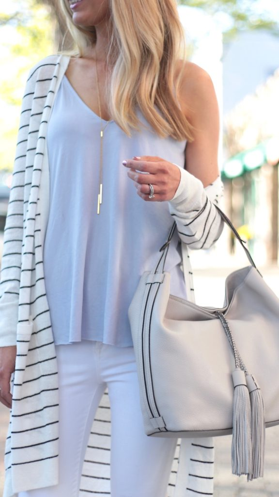 Summer Outfit Ideas with a Long Striped Cardigan | Connecticut life and style blogger, Pinteresting Plans shares 3 Summer outfit ideas. The key piece is a striped long cardigan styled three ways.