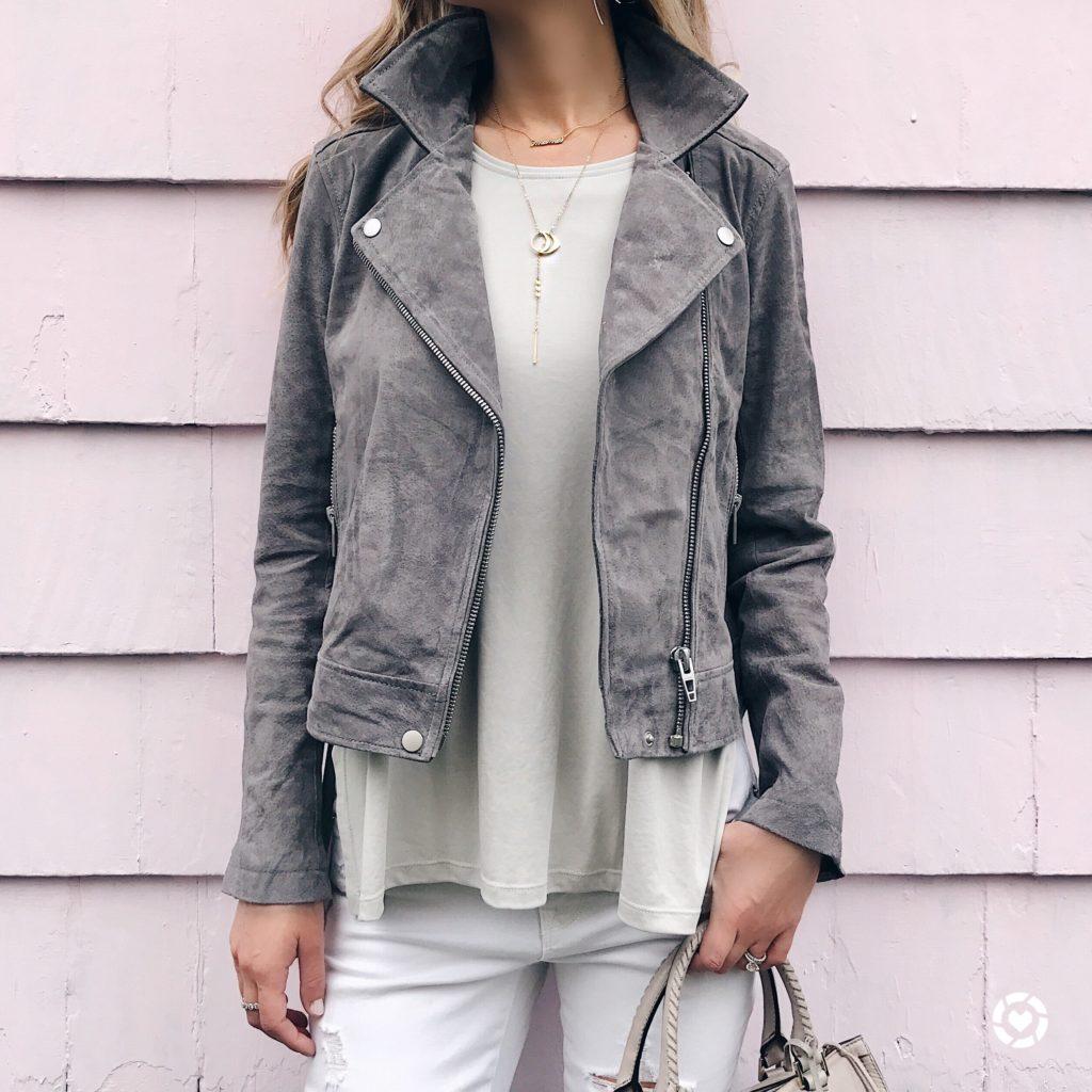 nordstrom anniversary sale tops - gray suede moto jacket on pinterestingplans