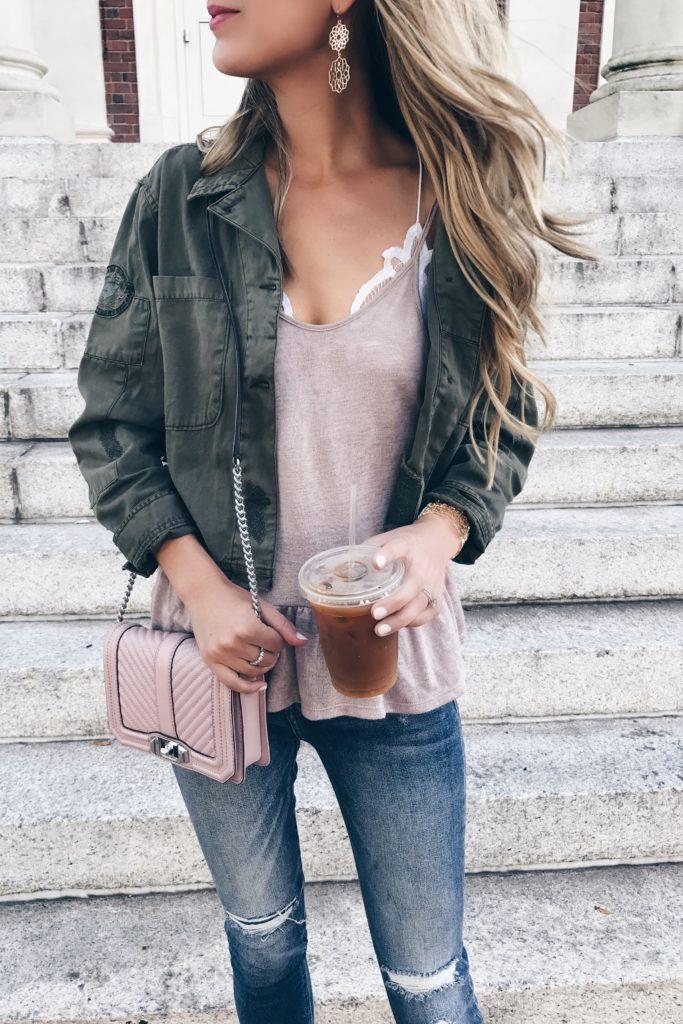 Fall capsule wardrobe - cropped sanctuary utility jacket over peplum camisole and skinny jeans on pinterestingplans