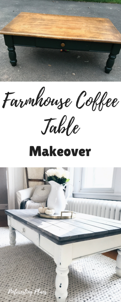 BOOKMARK THIS! Farmhouse Coffee Table Makeover with before and after photos and instructions