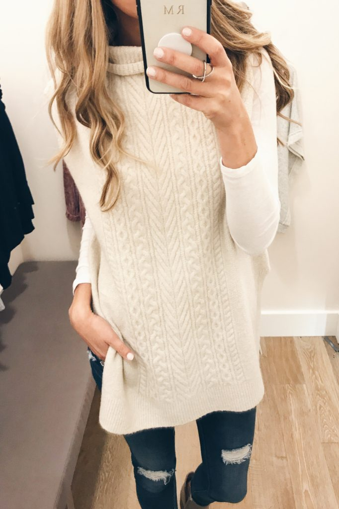 September Instagram round-up - sleeveless cable knit sweater tunic over long sleeve white tee on pinterestingplans
