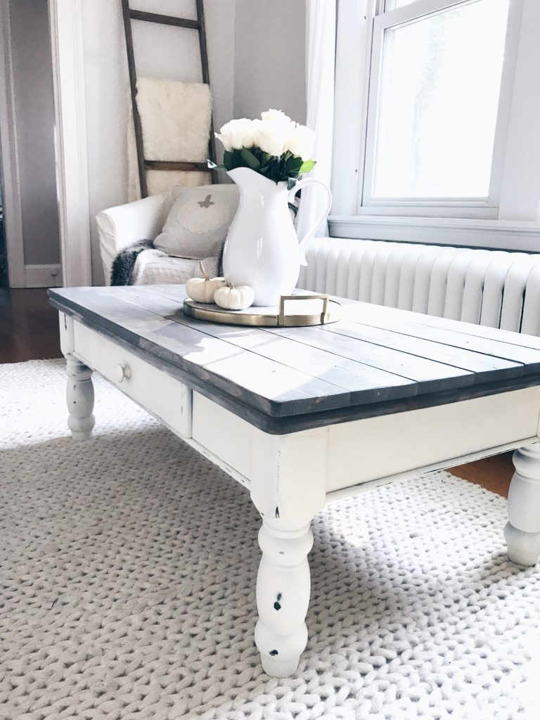 farmhouse coffee table makeover gray wood