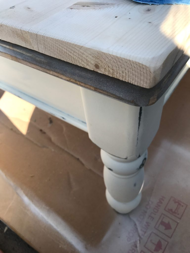 farmhouse coffee table makeover - sand down the edges of the cofee table via pinterestingplans