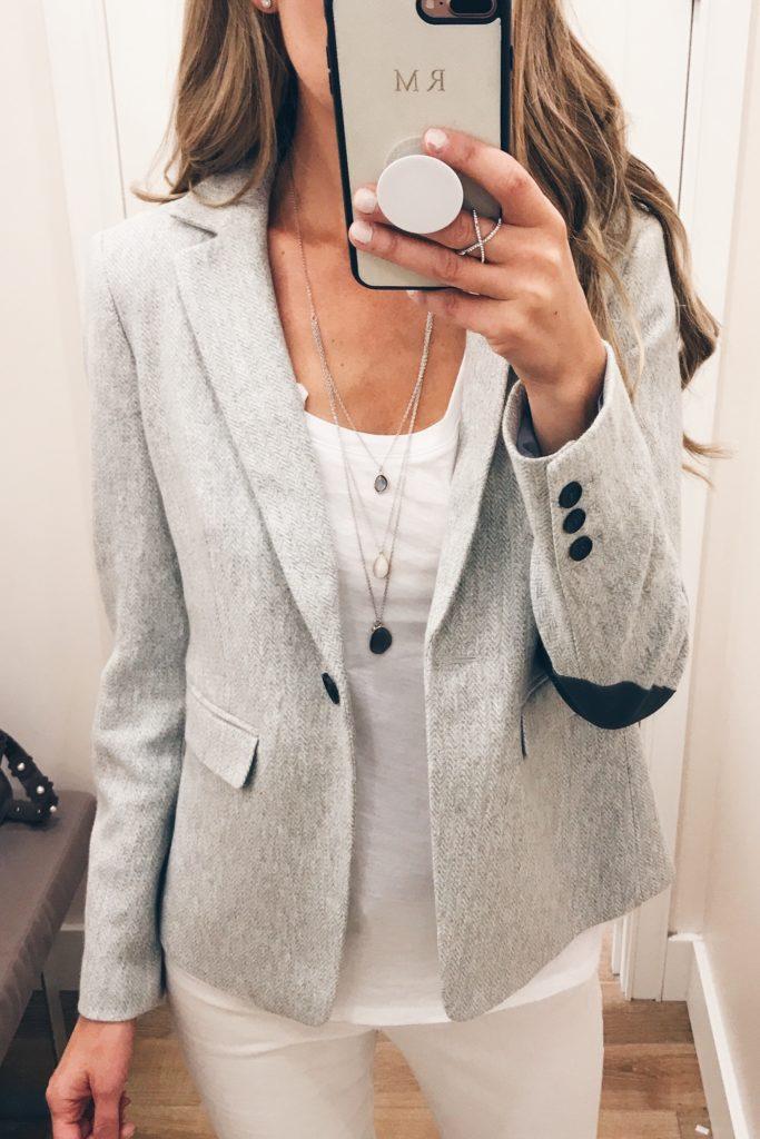 loft sale dressing room selfies - elbow patch blazer on pinterestingplans