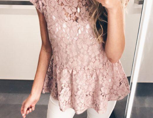 loft sale dressing room selfies - pink lace peplum top