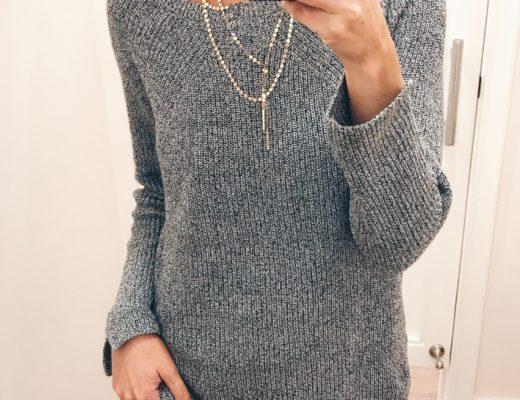 loft sale dressing room selfies - gray everyday knit sweater on pinteresting plans