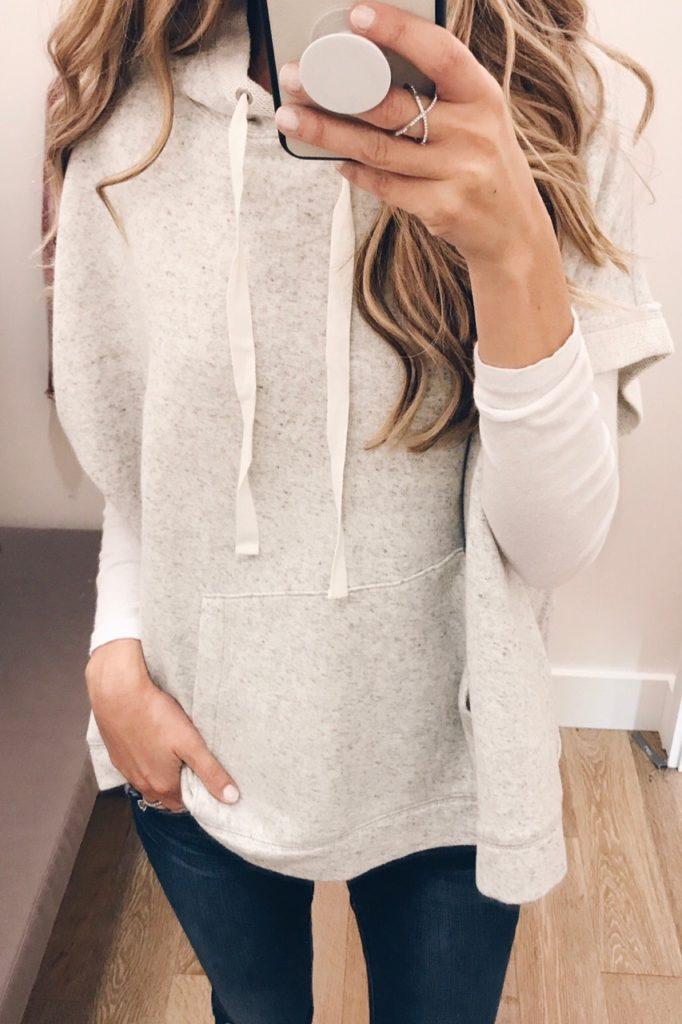 loft sale dressing room selfies - hooded sweatshirt poncho