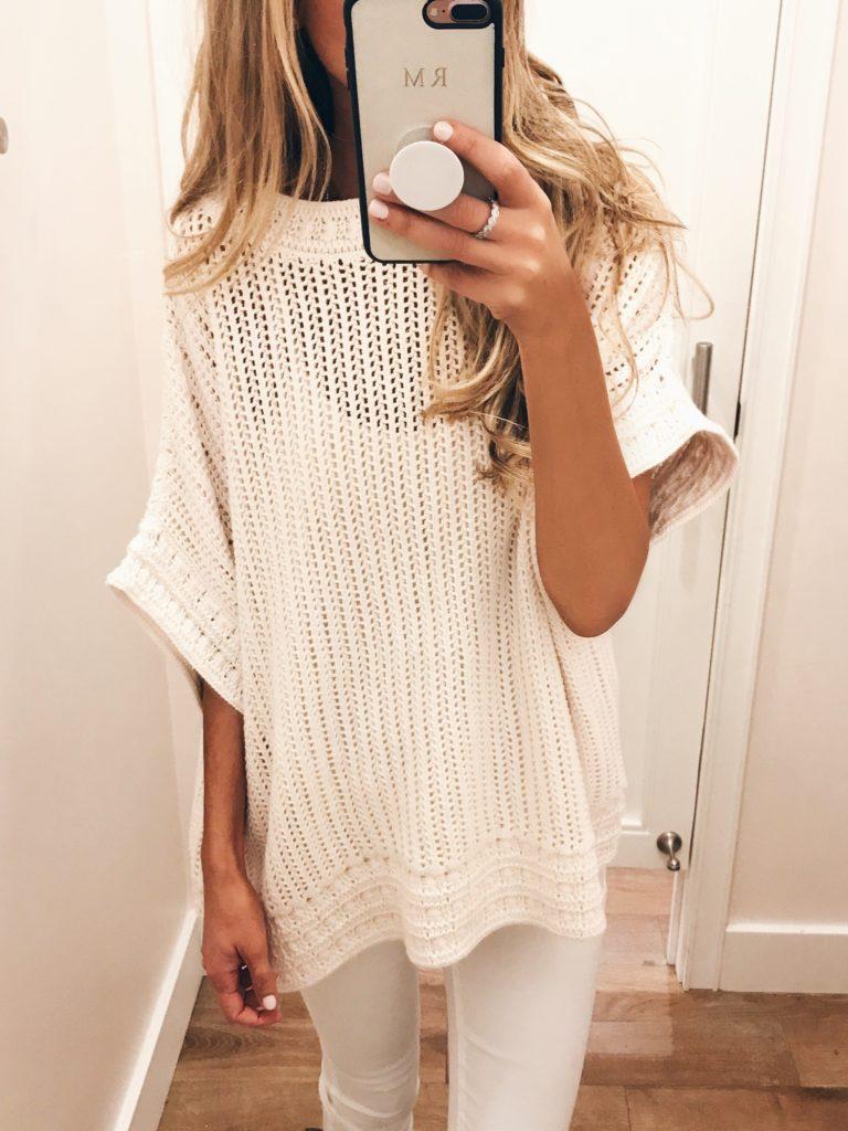 loft sale dressing room selfies - short sleeve cream knit sweater