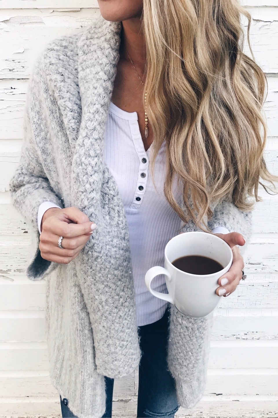 best cyber monday 2017 deals - shawl collar cardigan and white henley women's fashion