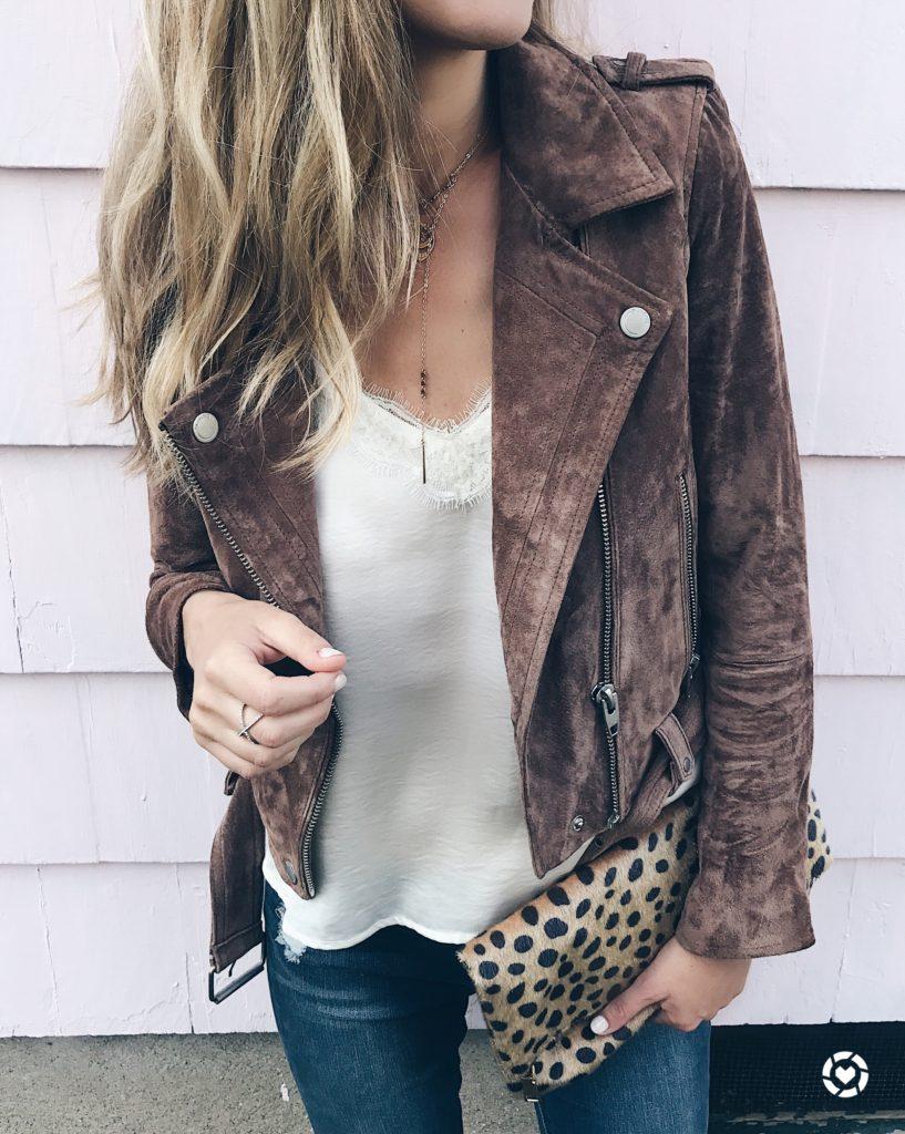brown suede moto jacket idea over lace cami
