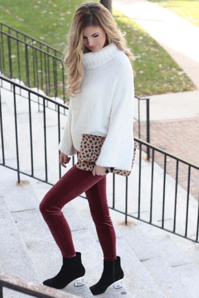 BOOKMARK THIS!! velvet holiday outfit - warm holiday party outfit idea with white turtleneck cozy sweater over velvet leggings and lucite heel boots on pinterestingplans