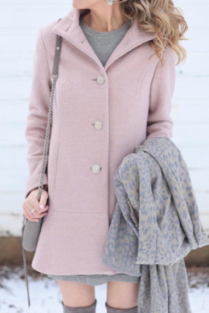 casual winter dress under blush peplum swing coat
