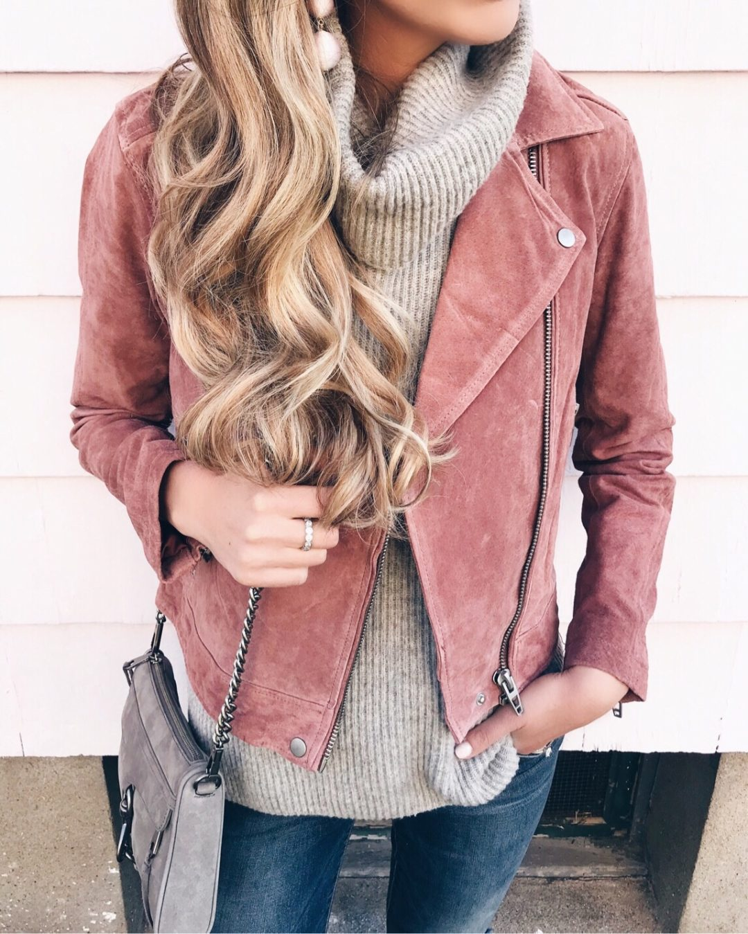 new christmas weekend markdowns - blush suede moto jacket