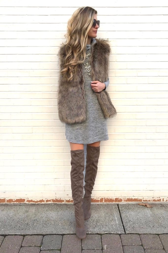 top outfits of 2017 - fur vest over gray dress with over the knee boots - winter outfit ideas on pinterestingplans