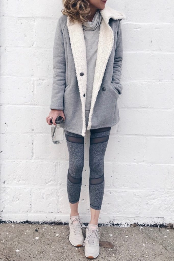 winter fashion trends 2018 - casual sherpa lined coat with workout leggings on pinterestingplans