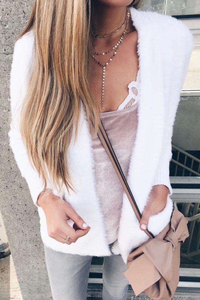 winter fashion trends 2018 - eyelash sweater cardigan over velvet cami on pinterestingplans