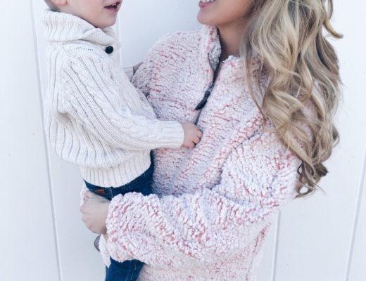 must have women's fleece pullover - pink sherpa!