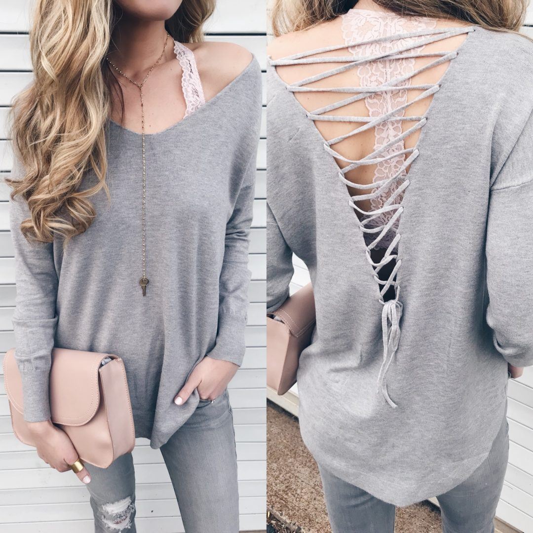 828ca70b90 weekly wrap 1 26 18 - lace up back tunic sweater - winter outfit
