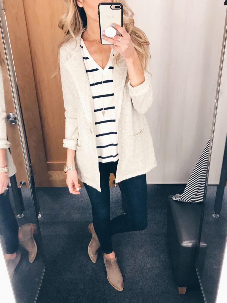 Weekly Wrap Up 2/16 - blazer/striped shirt