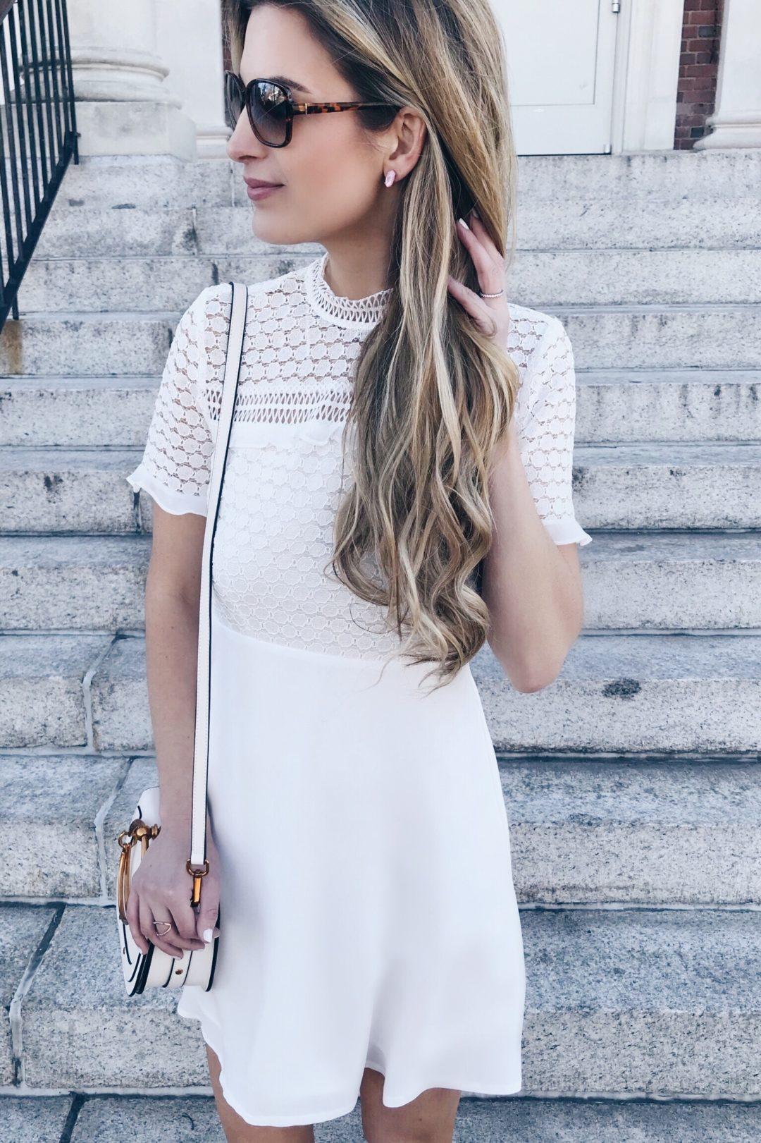 White Moc Neck Bridal Shower Dress