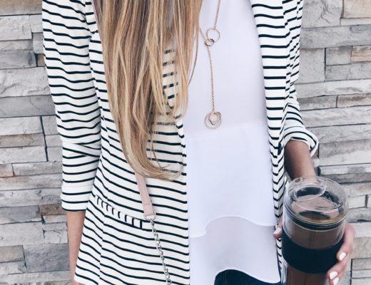 mom fashion affordable striped blazer