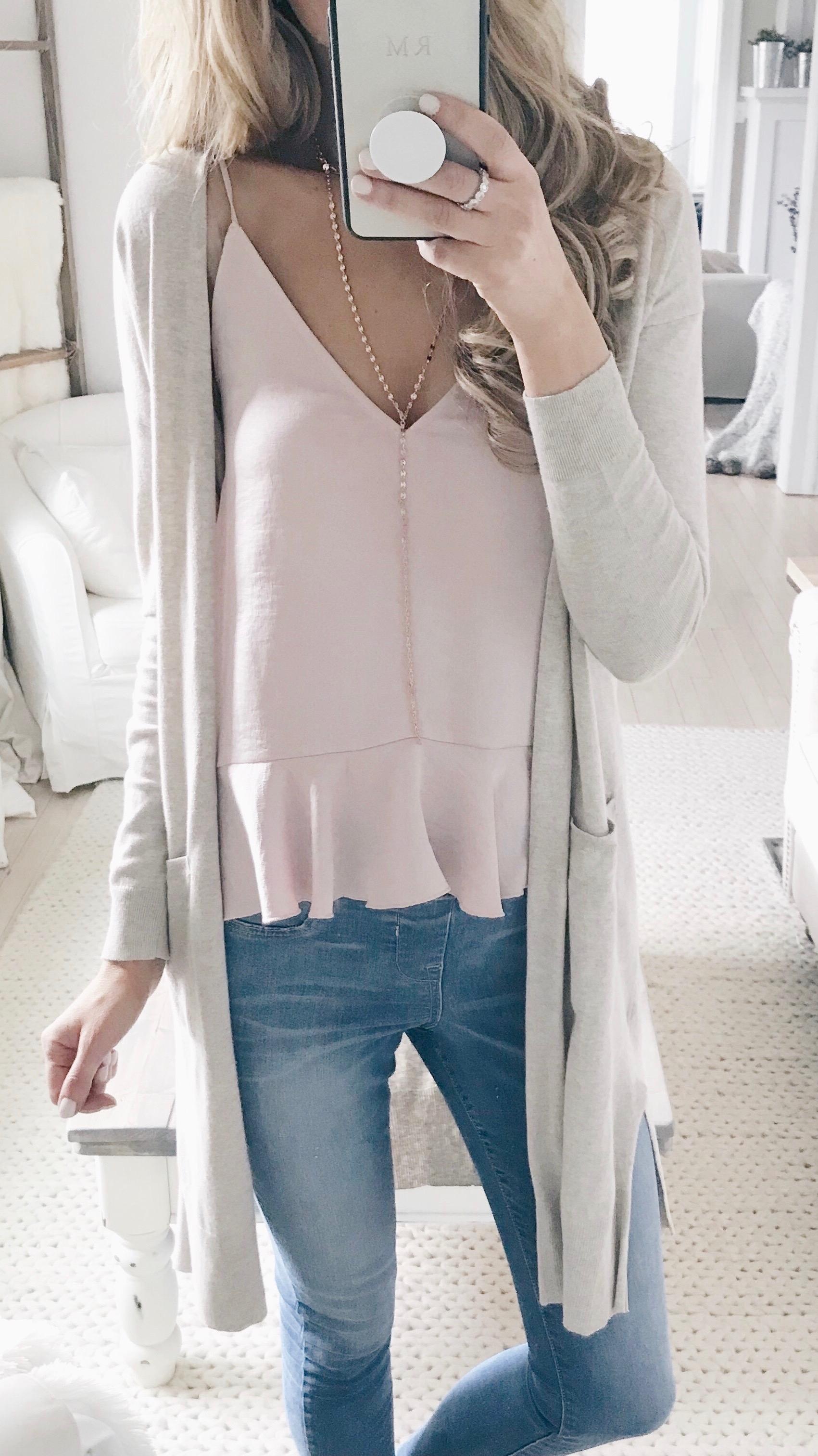 spring outfit ideas - neutral cardigan over peplum cami on pinterestingplans fashion blog