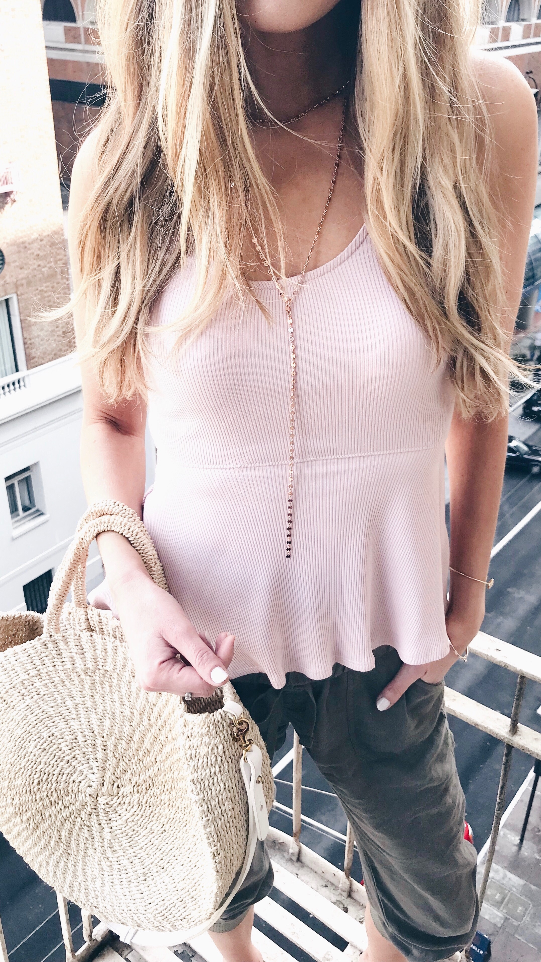 spring outfit ideas - tank top with linen joggers on pinteresting plans connecticut fashion blog