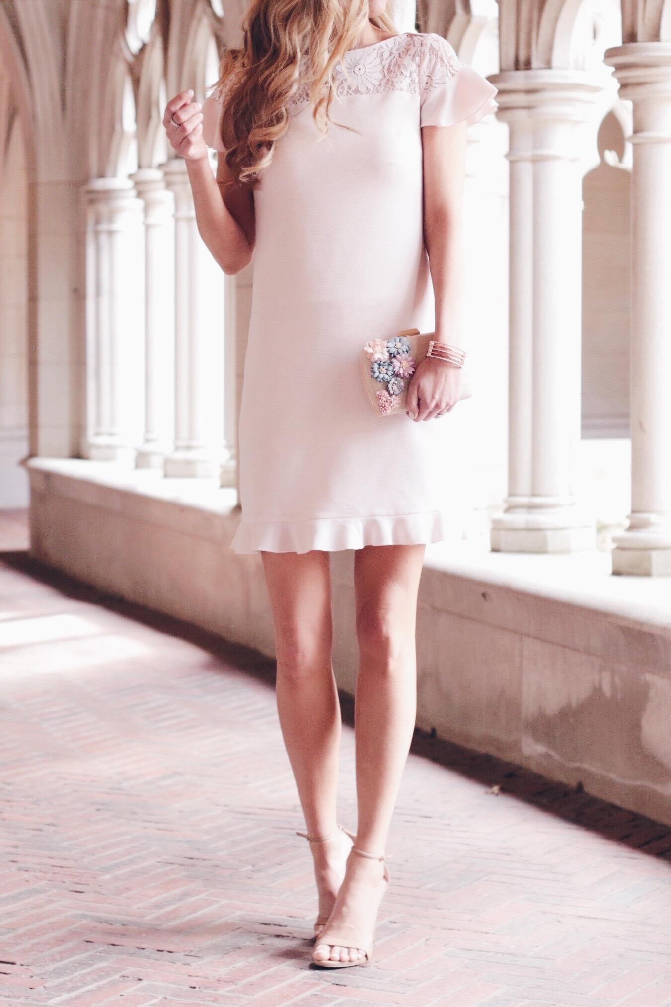 spring wedding guest dresses - pale pink ruffle hem option on pinteresting plans fashion blog
