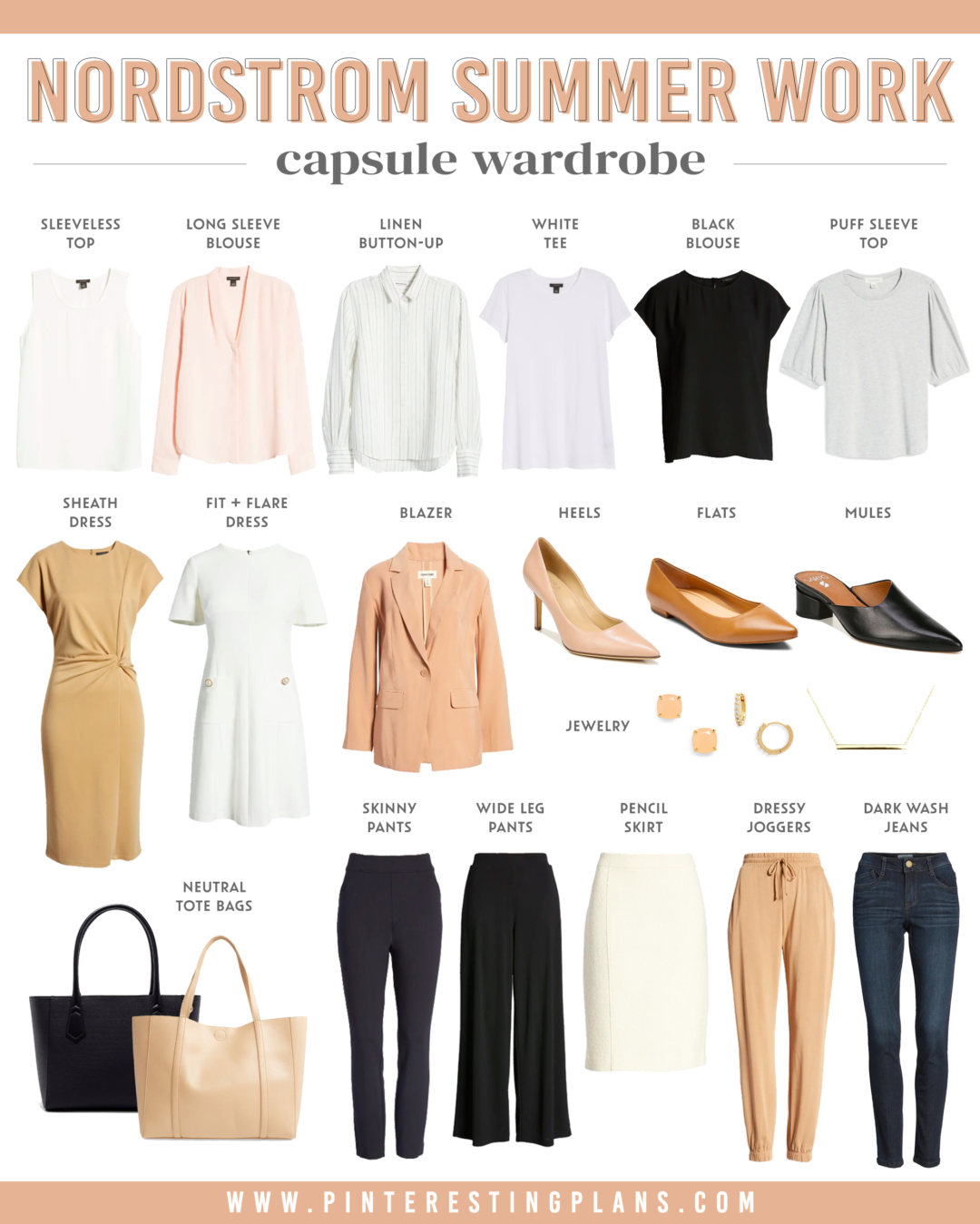 business casual summer capsule wardrobe for work from nordstrom 2021