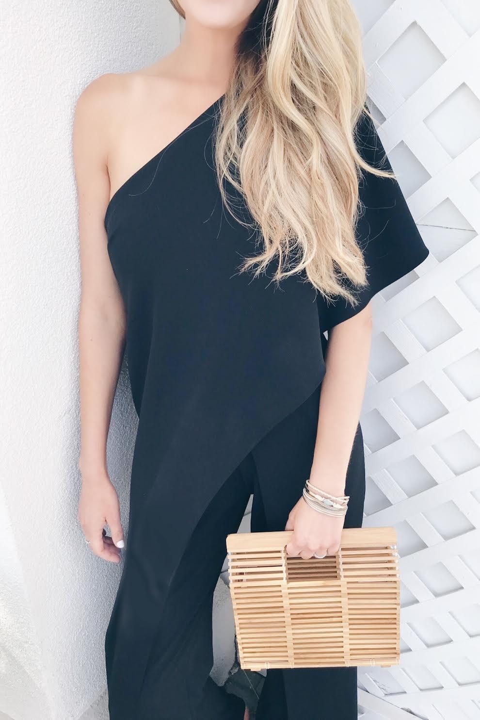 black formal jumpsuit for wedding guest attire on pinteresting plans connecticut fashion blog