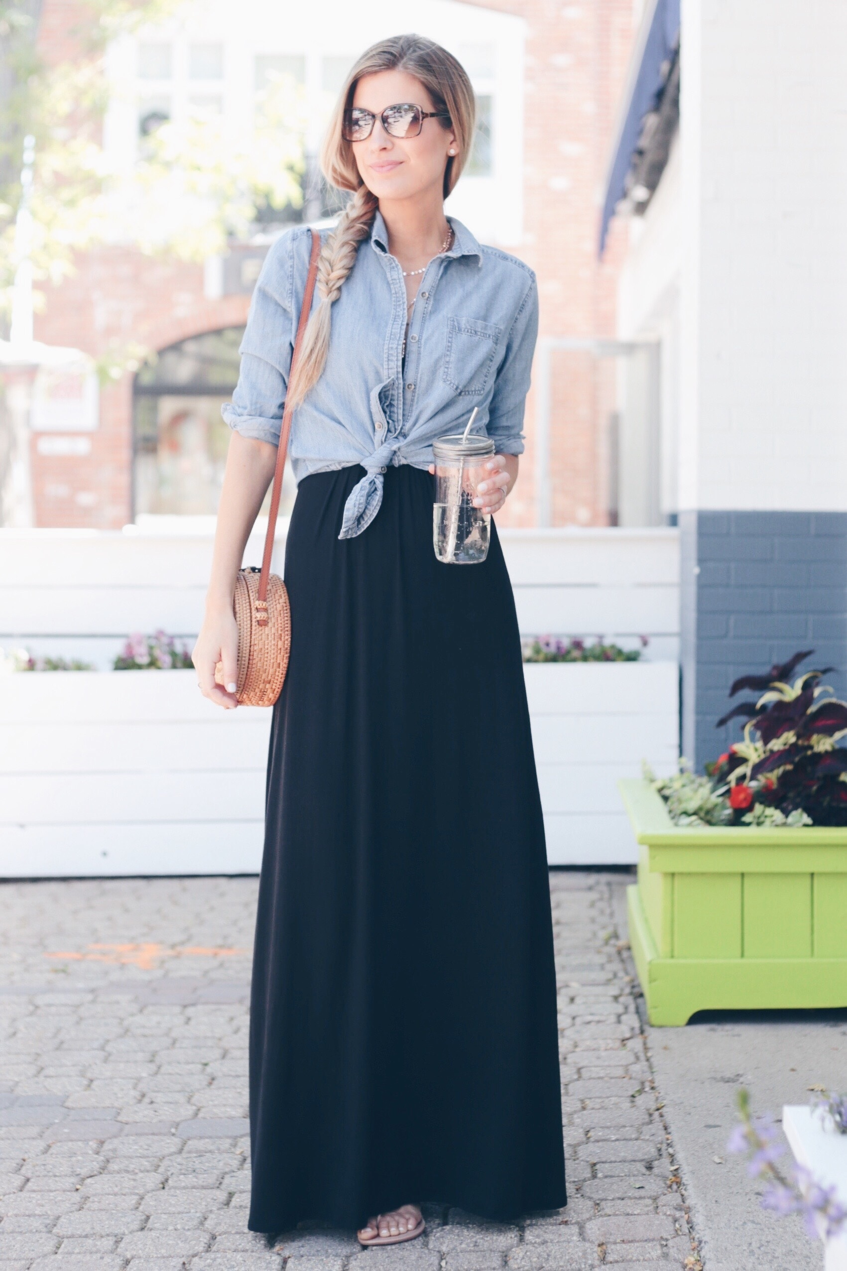 How to Wear a Little Black Maxi 3 Ways | Maxi Dress with Button Up | Layered Maxi Dress