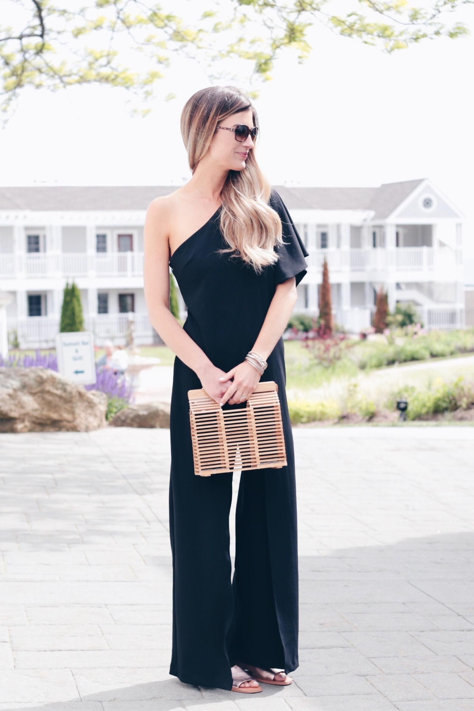 one shoulder black formal jumpsuit on pinteresting plans fashion blog