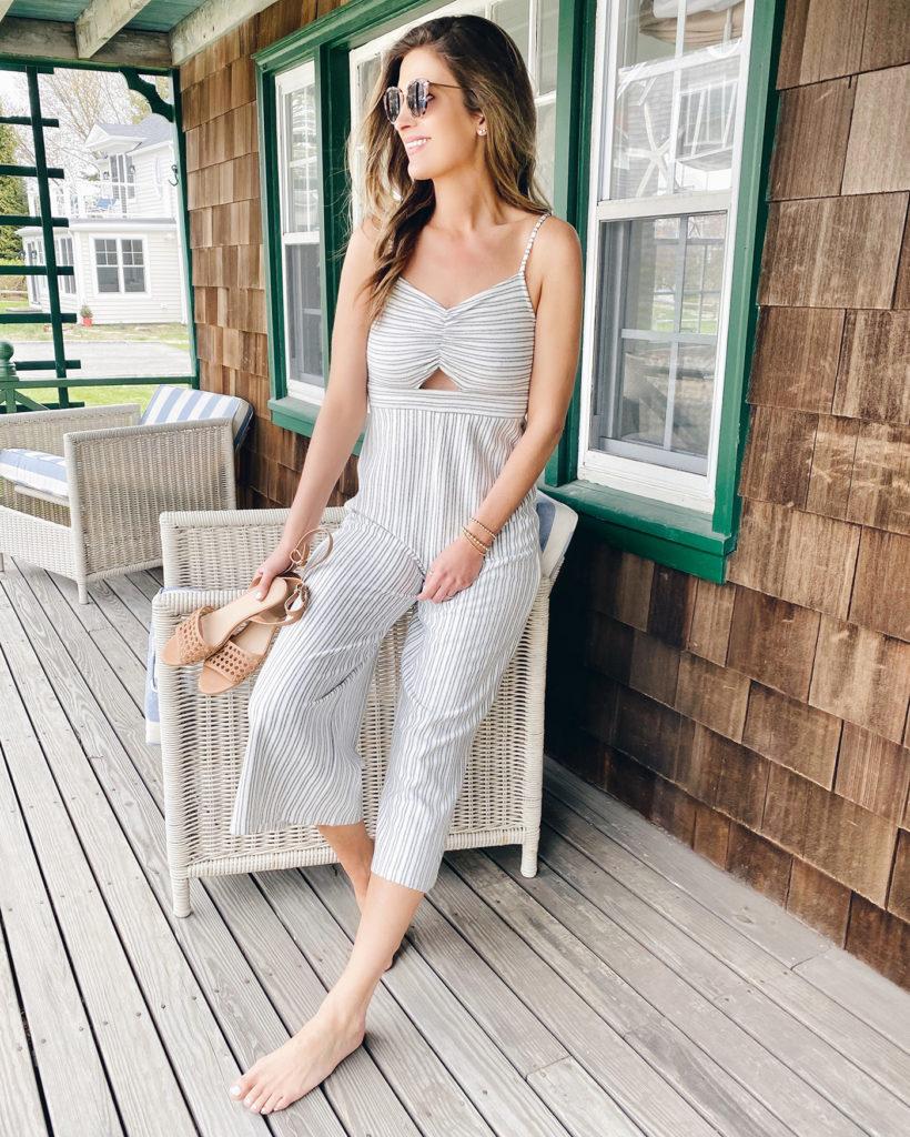 the best jumpsuit for summer - loft beach striped terry cutout jumpsuit on pinteresting plans fashion blog