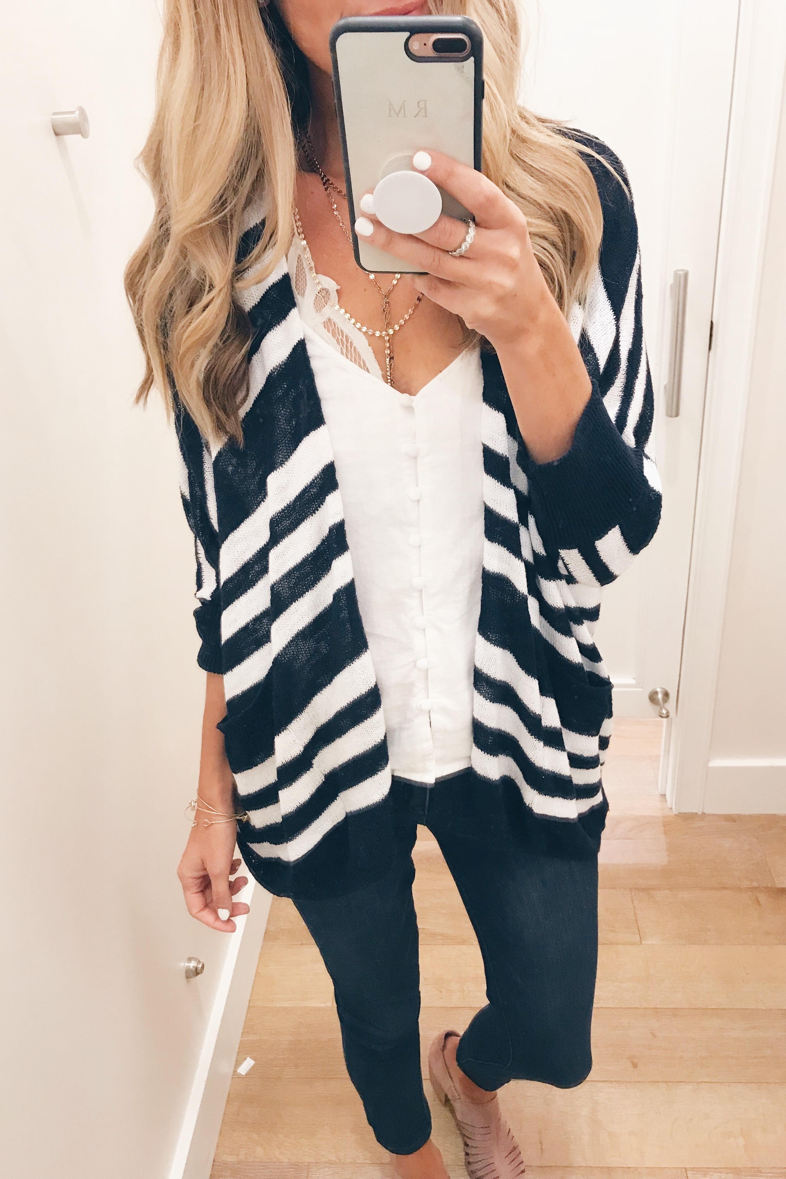 LOFT July 2018 Sale - Striped Open Cardigan