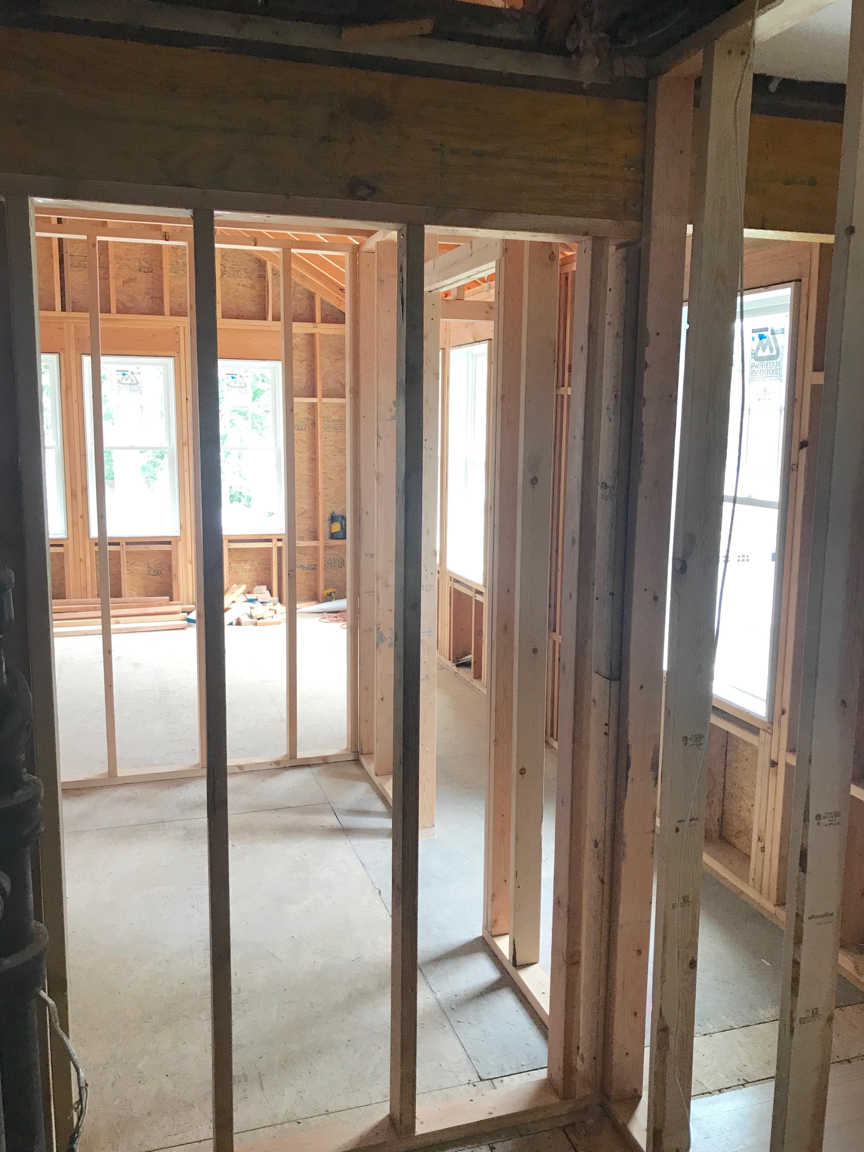 Small Full Bathroom Inpsiration - framing a new kid bathroom on Pinteresting Plans Blog