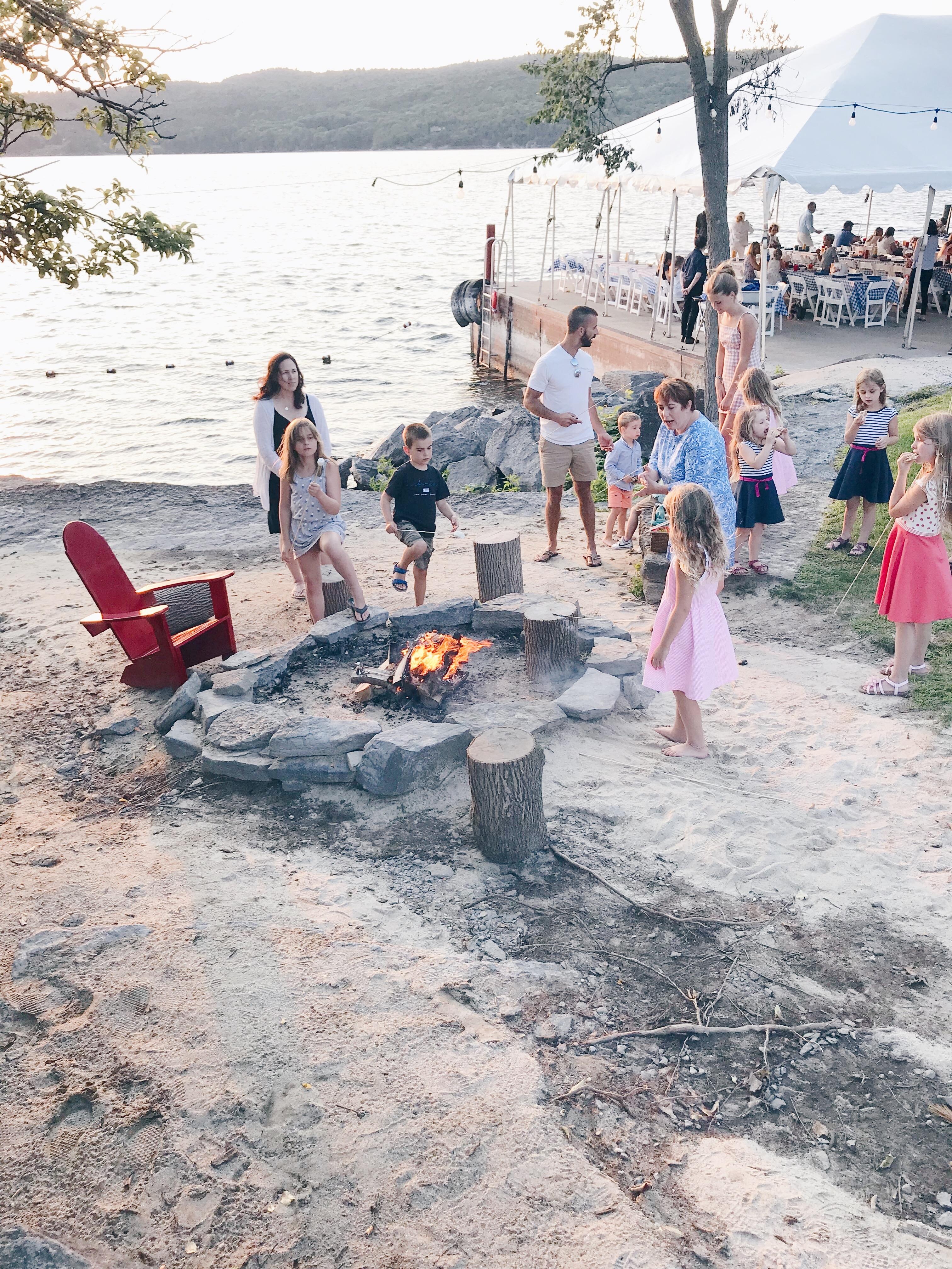 Basin Harbor Resort Review - Family Bonfire