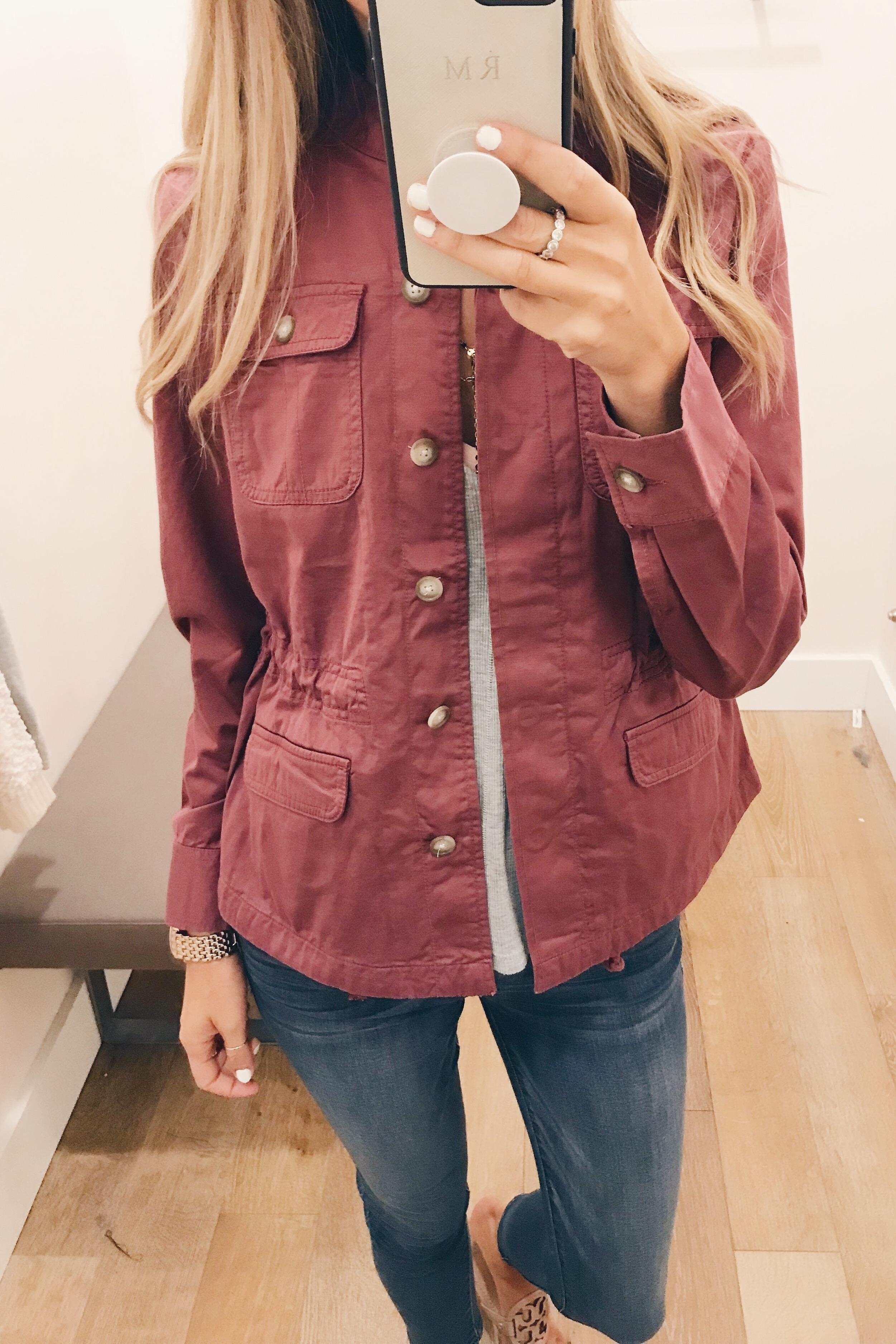 august 2018 loft sale wine utlity jacket